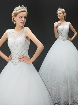 Beaded Sheer Jewel Neck Sweetheart Open Back Wedding Dress