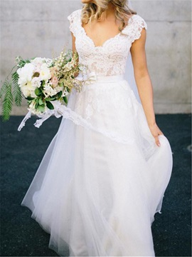 Fancy V-Neck Cap Sleeves Appliques Wedding Dress