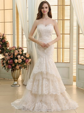 Sweetheart Tiered Ruffles Lace Mermaid Wedding Dress