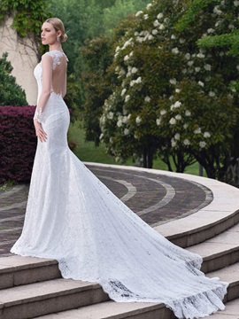 Charming Sweetheart Backless Lace Mermaid Wedding Dress
