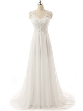 V Neck Appliques A Line Chiffon Wedding Dress