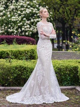 Spectacular Appliques Mermaid Wedding Dress with Long Sleeves
