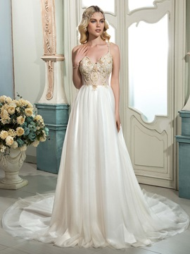 Chic A Line Spaghetti Straps Sleeveless Lace Beaded Court Wedding Dress