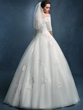 Off The Shoulder Lace Ball Gown Wedding Dress With Sleeves
