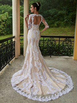 Mermaid Half Sleeves Appliques Scoop Neck Wedding Dress