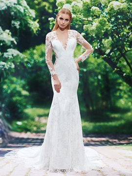 Deep V Neck Long Sleeves Appliques Lace Backless Wedding Dress