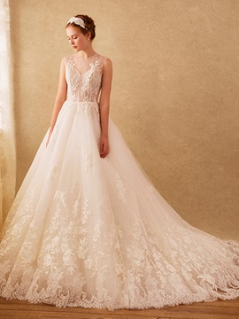 Charming Illusion Neckline Appliques Wedding Dress