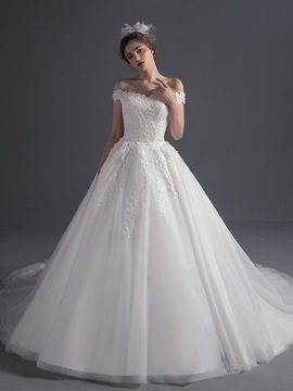 Brilliant Off The Shoulder Appliques Beading Chapel Train Wedding Dress