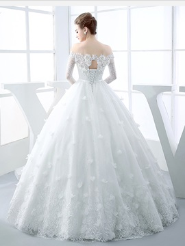 Long Sleeves Appliques Off The Shoulder Ball Gown Wedding Dress