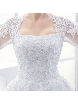 Square Neck Half Sleeves Appliques Ball Gown Wedding Dress