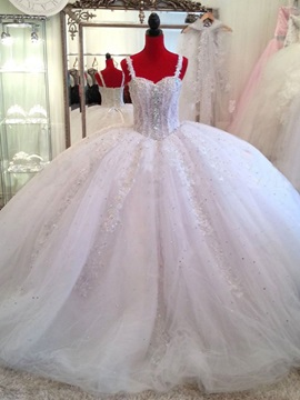 Sweetheart Appliques Beading Ball Gown Floor Length Wedding Dress