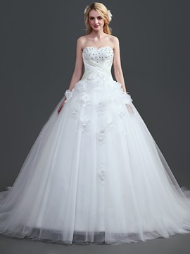 Sweetheart Beading Lace Up Court Train Ball Gown Wedding Dress