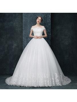 Off The Shoulder Ball Gown Appliques Beaded Wedding Dress