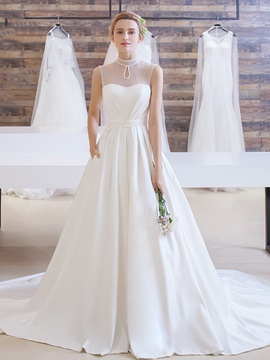 Pearls High Neck A Line Pockets Court Train Wedding Dress