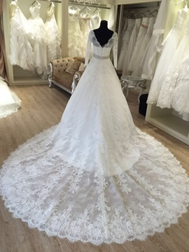 Attractive V Neck Long Sleeves Lace Wedding Dress