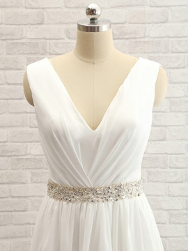 Beaded V Neck Split Front Lace Long Wedding Dress