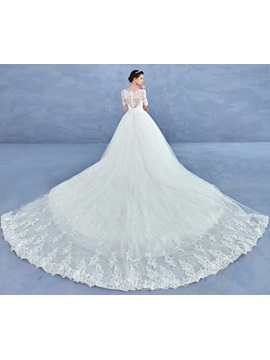 Exquisite Long Sleeves Appliques Ball Gown Cathedral Train Wedding Dress