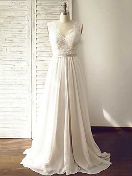 Simple V Neck Lace A Line Wedding Dress