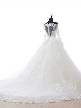 Beautiful Off The Shoulder Appliques Ball Gown Wedding Dress With Sleeves