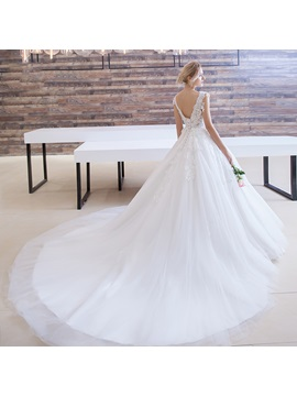 Delicate V Neck Appliques Court Train Ball Gown Wedding Dress