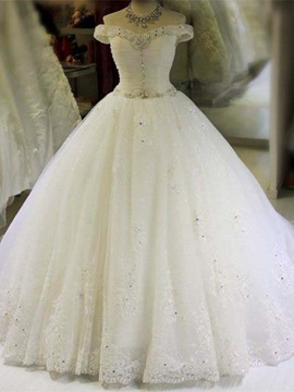 Beautiful Off The Shoulder Beaded Appliques Ball Gown Wedding Dress