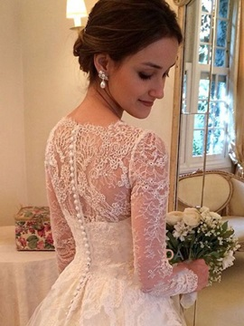 Fantastic V Neck Long Sleeves Appliques Court Train Wedding Dress