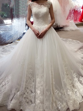 Charming Illusion Neckline Appliques Ball Gown Backless Wedding Dress
