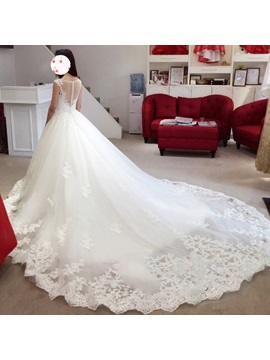 Illusion Neckline Appliques Ball Gown Sheer Back Wedding Dress