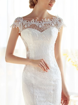 Captivating Off-The-Shoulder Cap Sleeves Lace Mermaid Wedding Dress