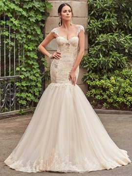 Charming Straps Appliques Illusion Back Mermaid Wedding Dress