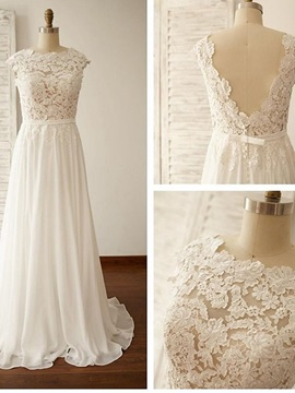 Beautiful Jewel Appliques A Line Chiffon Wedding Dress