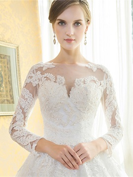 Beautiful Appliques Long Sleeves A Line Cathedral Train Wedding Dress