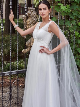 Appliques Beading V Neck Empire Waist A Line Wedding Dress