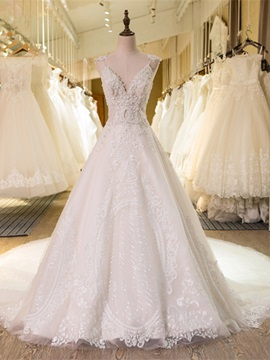 V Neck Lace-Up Pearls Appliques A Line Wedding Dress