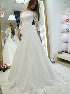 Beautiful Off-the-Shoulder Appliques A Line Wedding Dress