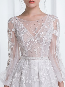 Charming Scoop Long Sleeves Lace A Line Wedding Dress
