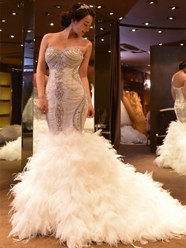 Sweetheart Lace-Up Beaded Appliques Mermaid Wedding Dress