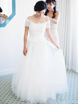 High Quality Illusion Neckline Short Sleeves A Line Wedding Dress