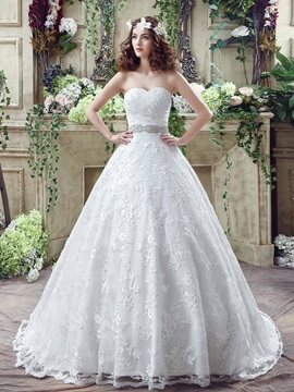 Dramatic Sweetheart Beaded Waist Ball Gown Lace Wedding Dress