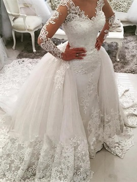 Delicate V Neck Appliques Long Sleeves Watteau Train Wedding Dress