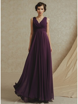 Simple Style V-Neck Straps Ruffles A-Line Floor Length Bridesmaid Dress