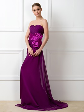 Strapless Ruched Sweetheart Bowknot Sheath Long Bridesmaid Dress