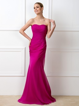 Simple Style Strapless Sweetheart Mermaid Long Bridesmaid Dress