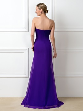 Eye-catching Ruched Beaded Sweetheart Purple Long Bridesmaid Dress