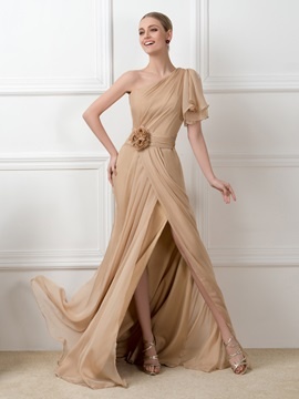 Dazzling One-Shoulder Split-Front Chiffon Long Bridesmaid Dress