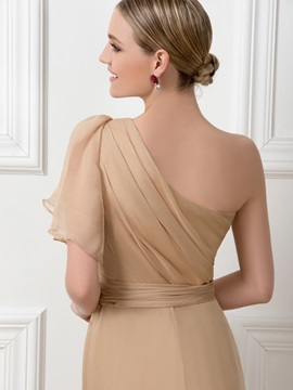 Dazzling One-Shoulder Split-Front Long Bridesmaid Dress
