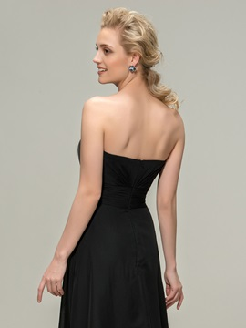 Strapless Pleats Black Bridesmaid Dress