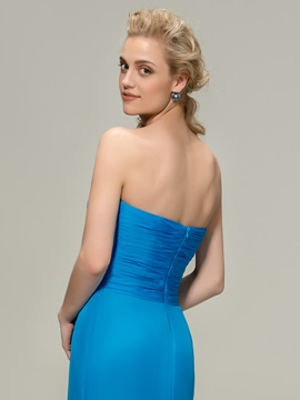 Strapless Sweetheart Blue Long Bridesmaid Dress