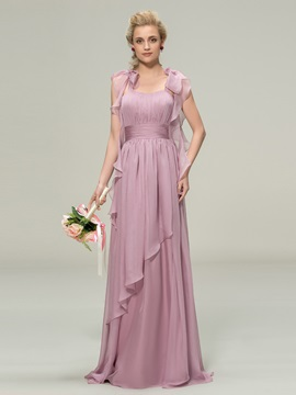 Trendy Straps Ruched Chiffon Long Bridesmaid Dress