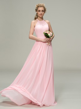 Ruched Halter A-Line Zipper-Up Bridesmaid Dress